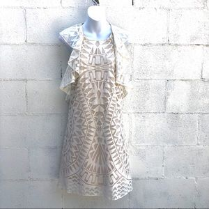 White BcbgMaxazria Jenni ruffle Dress small